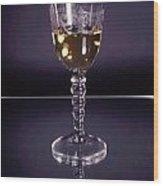 White Wine On Mirror Wood Print
