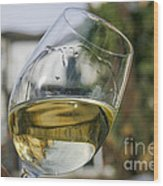 White Wine Swirling In A Glass Wood Print by Patricia Hofmeester