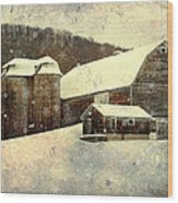 White Winter Barn Wood Print