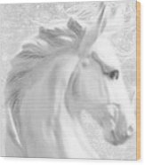 White Winter Horse 1 Wood Print