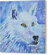 White Wolf - Aurora Nights In Blues - Square Wood Print