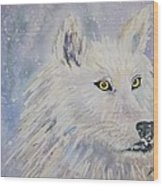 White Wolf Of The North Winds Wood Print