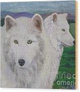 White Wolves Wood Print