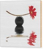 White Zen Gerbera Wood Print