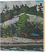 Whitefish River Cottages Wood Print