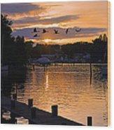 White's Cove Silhouette Wood Print