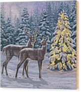 Whitetail Christmas Wood Print by Crista Forest