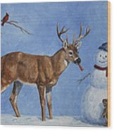 Whitetail Deer And Snowman - Whose Carrot? Wood Print by Crista Forest