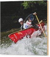 Whitewater Open Canoe Race Wood Print