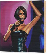 Whitney Houston On Stage Wood Print