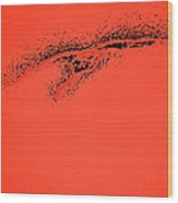 Whooper Swan Red Abstract Wood Print
