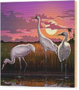 Whooping Cranes Tropical Florida Everglades Sunset Birds Landscape Scene Purple Pink Print Wood Print