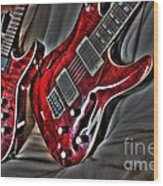 Wicked Relations Digital Guitar Art By Steven Langston Wood Print by Steven Lebron Langston