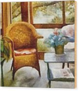 Wicker Chair And Cyclamen Wood Print