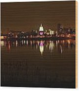 Wide Shot Of The City Skyline Wood Print