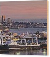 Wider Seattle Skyline And Rainier At Sunset From Magnolia Wood Print