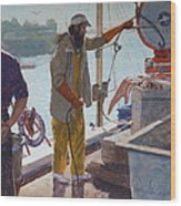 Wieghing The Catch Graymouth Wood Print