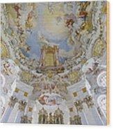 Wieskirche Organ And Ceiling Wood Print