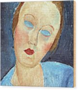 Wife Of The Painter Survage Wood Print by Amedeo Modigliani