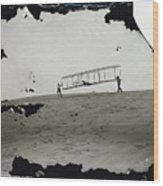 The Wright Brothers Wilbur In Motion At Left Holding One End Of Glider Wood Print