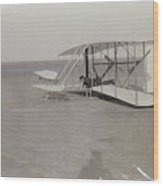 The Wright Brothers Wilbur In Prone Position In Damaged Machine Wood Print
