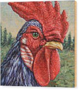 Wild Blue Rooster Wood Print