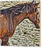 Wild Bronc Wood Print