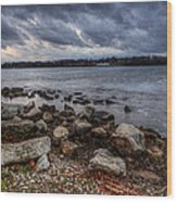 Wild Clouds On The Lake Wood Print