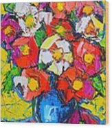 Wild Colorful Flowers Wood Print