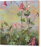Wild Columbines Wood Print by Lenore Gaudet
