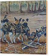 Wild Dogs After The Chase Wood Print