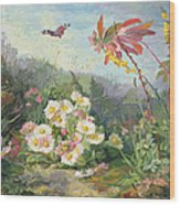 Wild Flowers And Butterfly Wood Print by Jean Marie Reignier