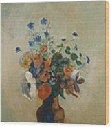 Wild Flowers Wood Print by Odilon Redon
