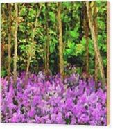 Wild Forest Violets Wood Print