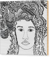 Wild Hair Portrait In Shapes And Lines Wood Print by Lenora  De Lude