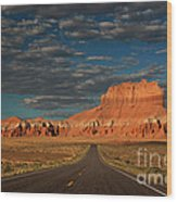 Wild Horse Butte And Road Goblin Valley Utah Wood Print