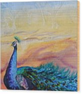 Wild Peacock Wood Print