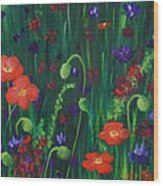 Wild Poppies Wood Print