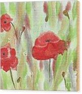 Wild Poppies Wood Print