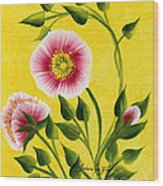 Wild Roses On Yellow Wood Print