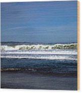 Wild Surf At Seaside Beach Wood Print