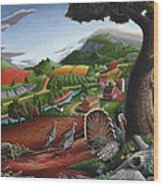 Wild Turkeys Appalachian Thanksgiving Landscape - Childhood Memories - Country Life - Americana Wood Print by Walt Curlee
