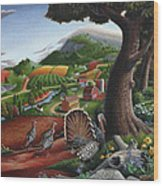 Wild Turkeys In The Hills Country Landscape - Square Format Wood Print