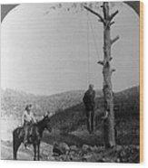 Wild West. Sheriff On Horseback Looking Wood Print