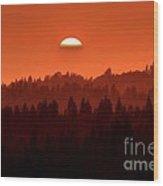 Wildfire Smoke Sunset 2 Wood Print