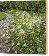 Wildflower Garden And Path To Gazebo Wood Print