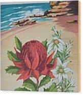 Wildflowers And Headland Wood Print