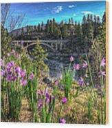 Wildflowers And Old Bridge Wood Print