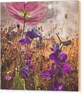 Wildflowers At Dawn Wood Print