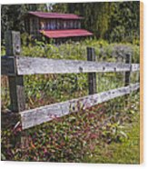 Wildflowers At The Fence Wood Print